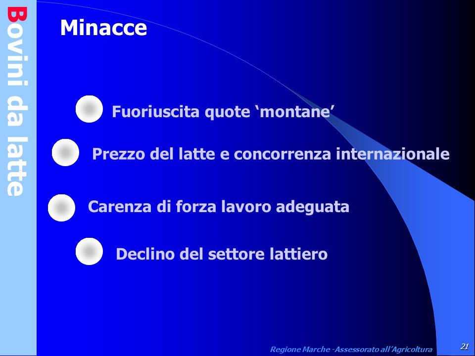 Minacce Bovini da latte 21 Regione Marche -Assessorato allAgricoltura Fuoriuscita quote montane Prezzo del latte e concorrenza internazionale Carenza