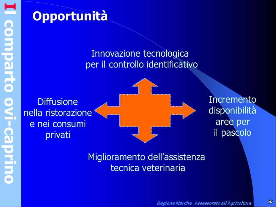Il comparto ovi-caprino26 Regione Marche -Assessorato allAgricoltura Opportunità Innovazione tecnologica per il controllo identificativo Miglioramento