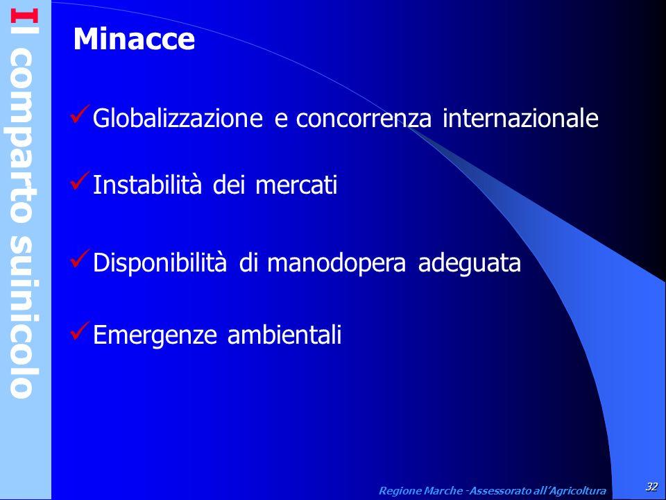 Il comparto suinicolo32 Regione Marche -Assessorato allAgricoltura Minacce Globalizzazione e concorrenza internazionale Instabilità dei mercati Dispon