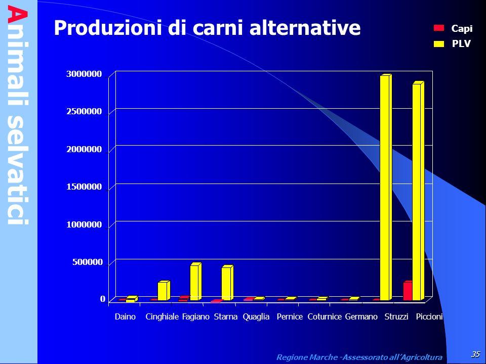 Animali selvatici 35 Regione Marche -Assessorato allAgricoltura Produzioni di carni alternative Capi PLV 0 500000 1000000 1500000 2000000 2500000 3000