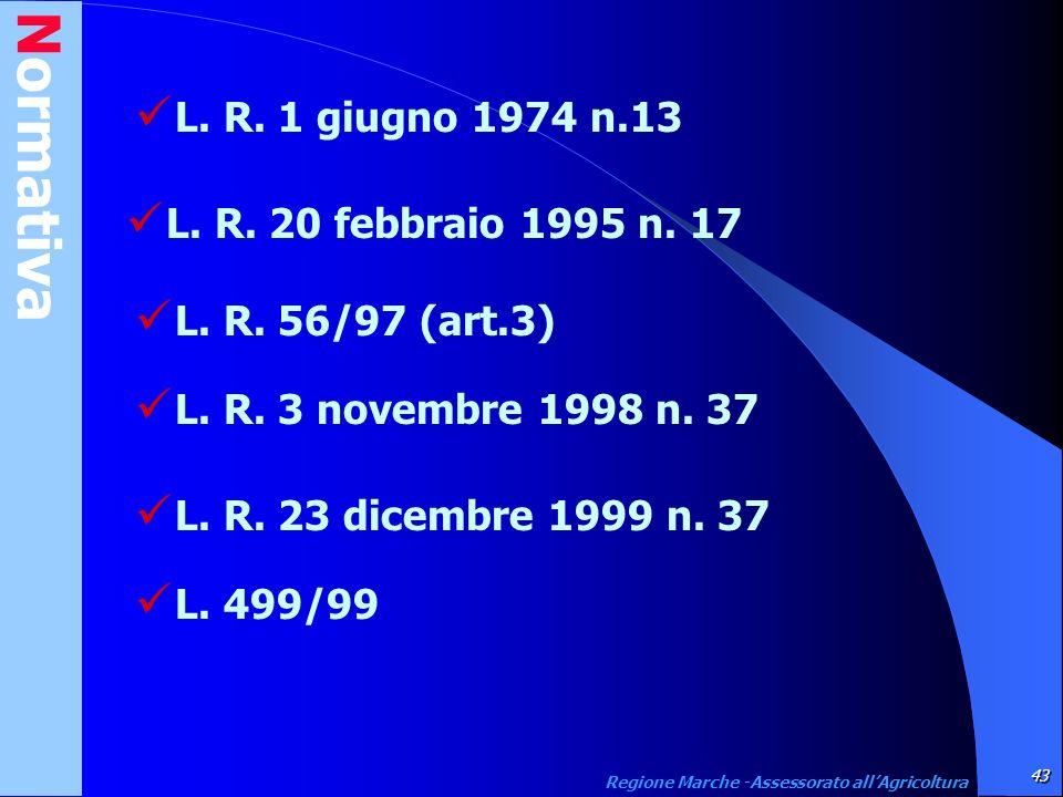 Normativa 43 Regione Marche -Assessorato allAgricoltura L. R. 1 giugno 1974 n.13 L. R. 20 febbraio 1995 n. 17 L. R. 56/97 (art.3) L. R. 3 novembre 199