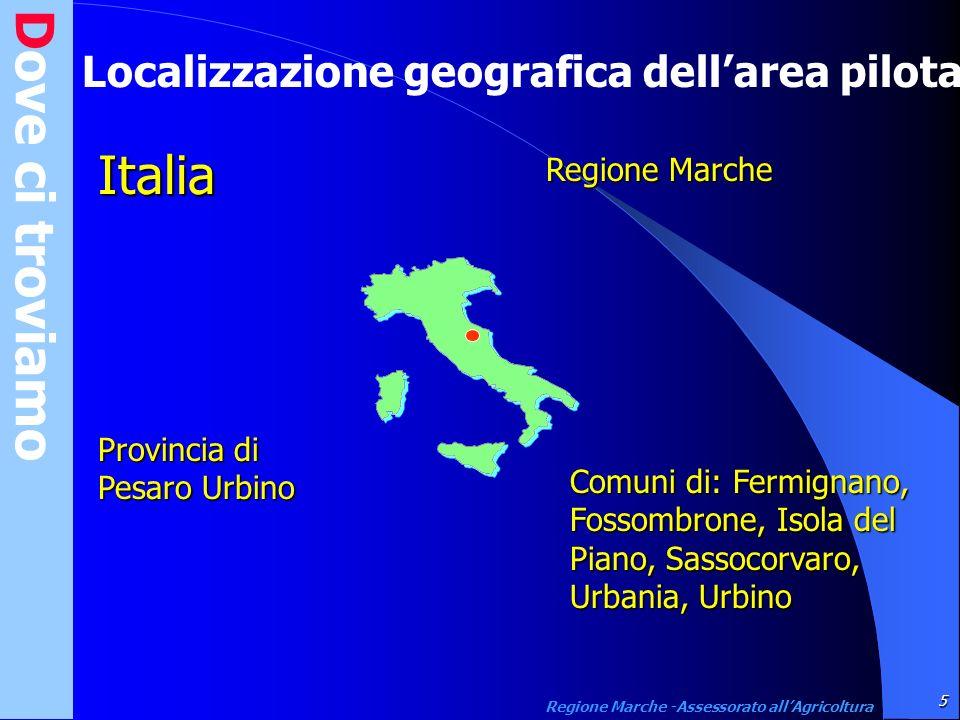 Dove ci troviamo Localizzazione geografica dellarea pilota Italia Provincia di Pesaro Urbino Regione Marche Comuni di: Fermignano, Fossombrone, Isola