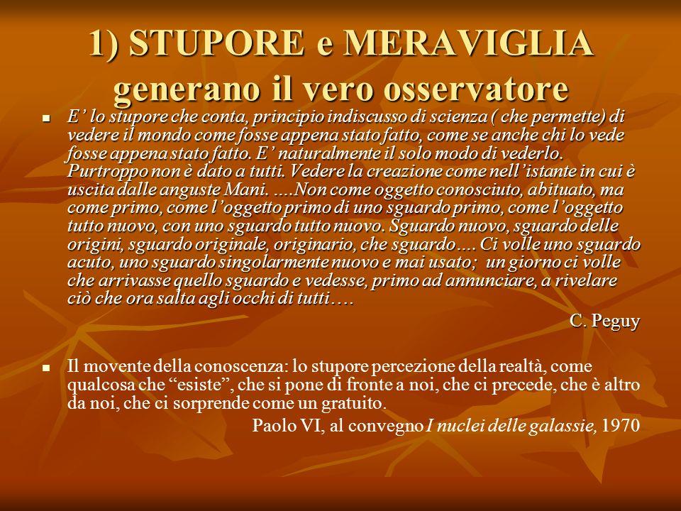 1) STUPORE e MERAVIGLIA generano il vero osservatore E lo stupore che conta, principio indiscusso di scienza ( che permette) di vedere il mondo come f