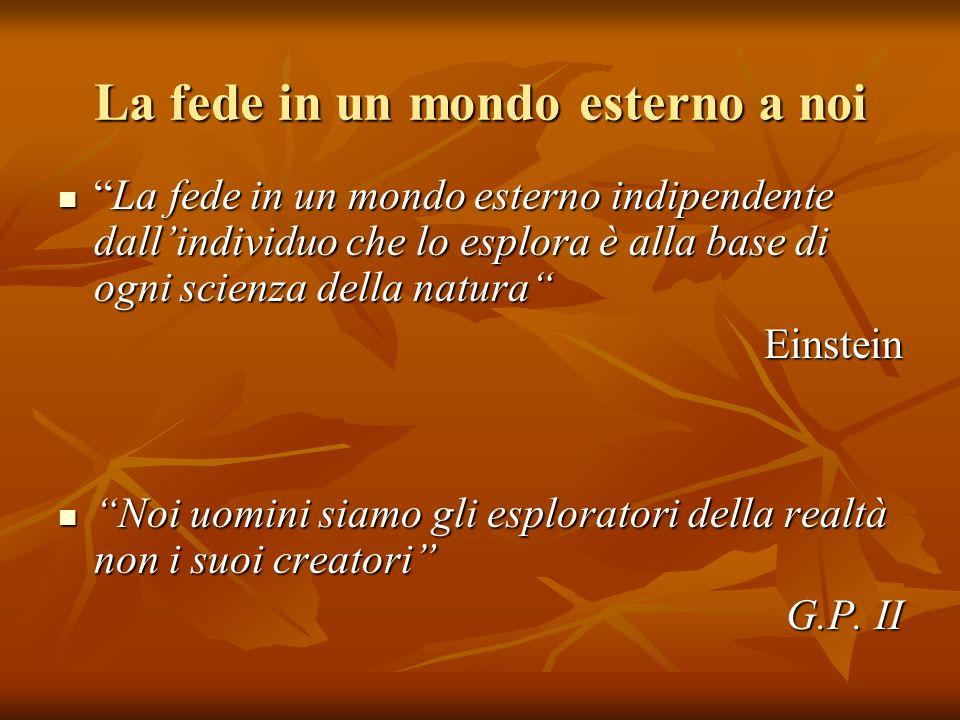 La fede in un mondo esterno a noi La fede in un mondo esterno indipendente dallindividuo che lo esplora è alla base di ogni scienza della naturaLa fed