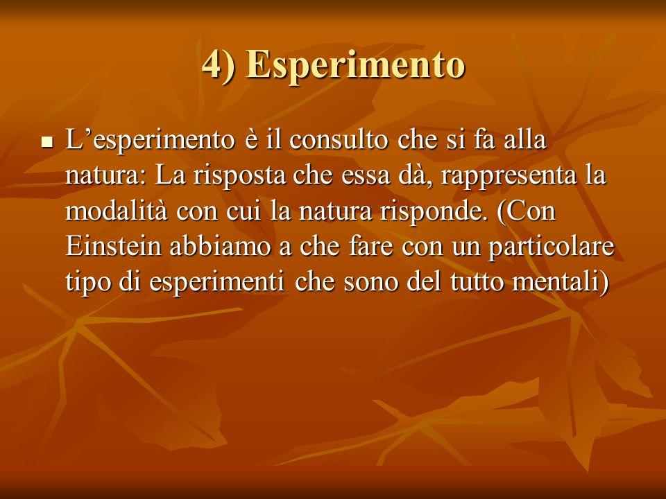 4) Esperimento Lesperimento è il consulto che si fa alla natura: La risposta che essa dà, rappresenta la modalità con cui la natura risponde. (Con Ein