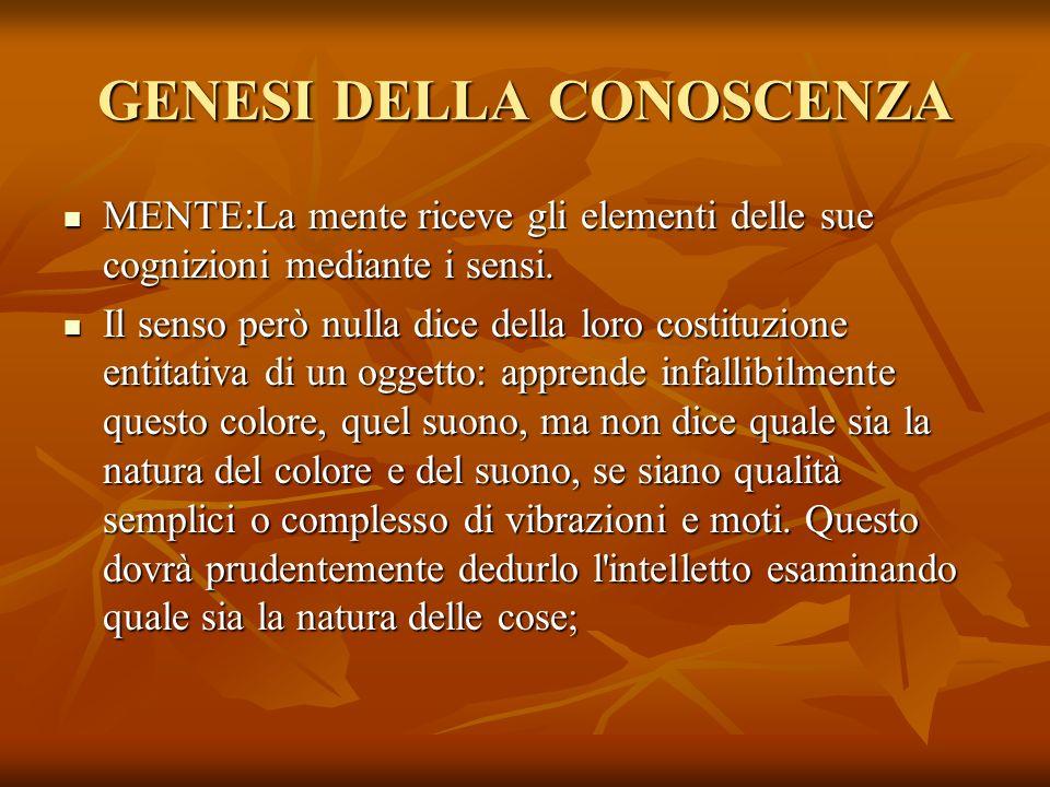 GENESI DELLA CONOSCENZA MENTE:La mente riceve gli elementi delle sue cognizioni mediante i sensi. MENTE:La mente riceve gli elementi delle sue cognizi