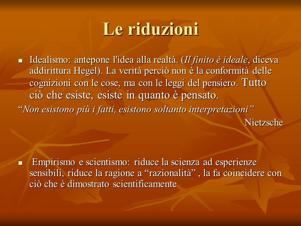 Le riduzioni Idealismo: antepone l'idea alla realtà. (Il finito è ideale, diceva addirittura Hegel). La verità perciò non è la conformità delle cogniz