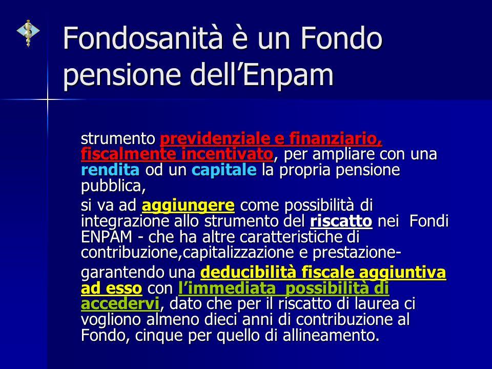 Fondosanità è un Fondo pensione dellEnpam strumento previdenziale e finanziario, fiscalmente incentivato, per ampliare con una rendita od un capitale