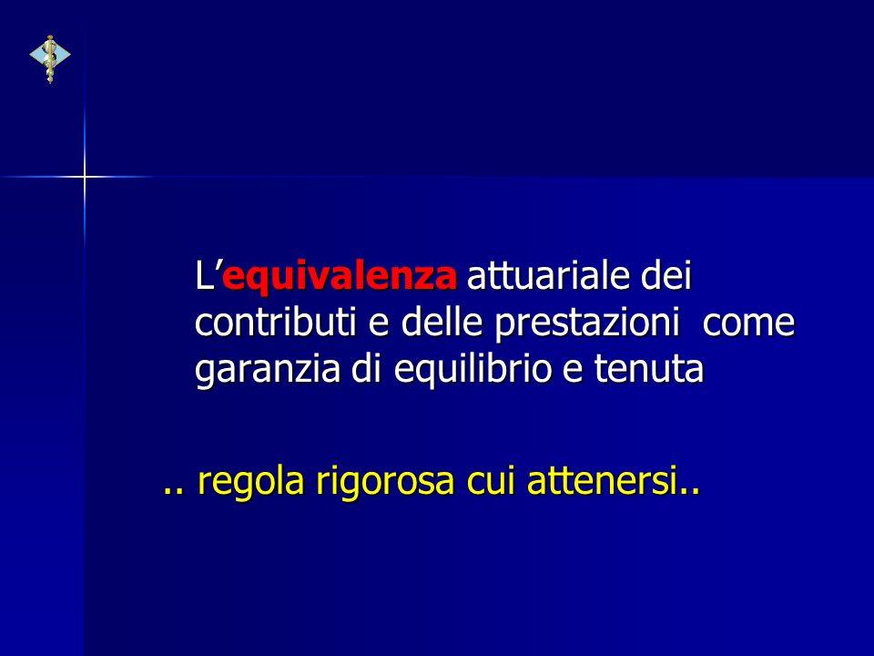 Lequivalenza attuariale dei contributi e delle prestazioni come garanzia di equilibrio e tenuta.. regola rigorosa cui attenersi..