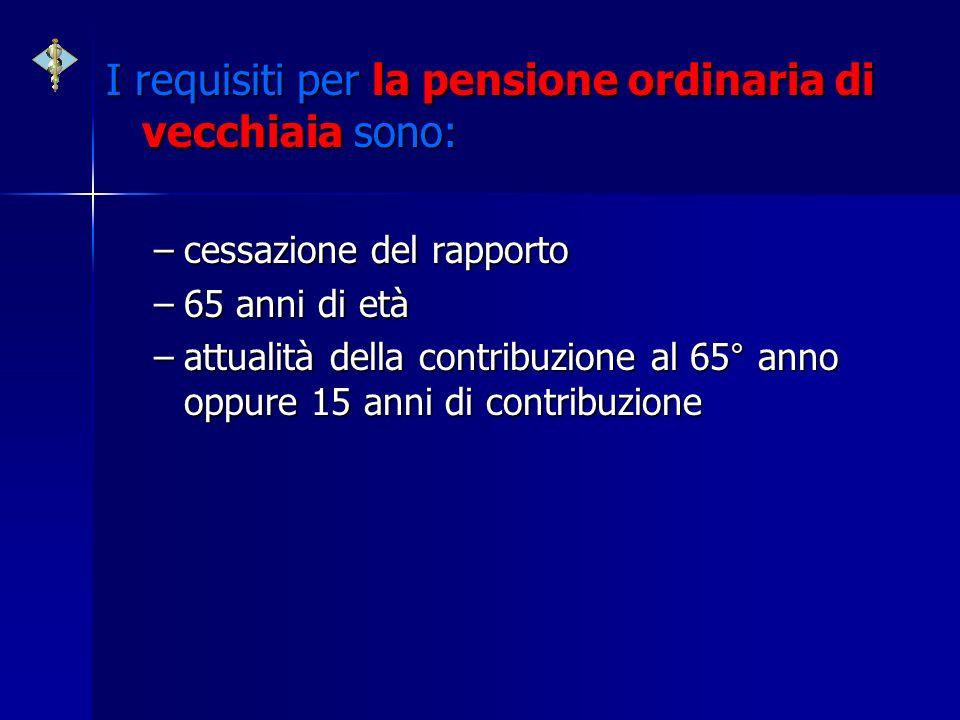 I requisiti per la pensione ordinaria di vecchiaia sono: –cessazione del rapporto –65 anni di età –attualità della contribuzione al 65° anno oppure 15