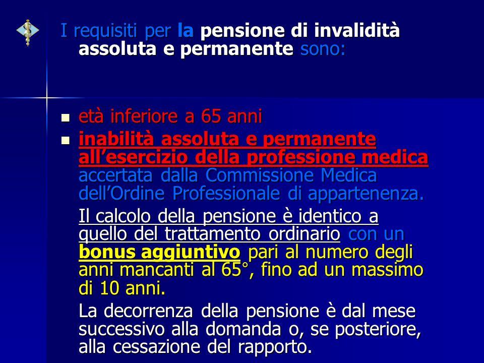 I requisiti per la pensione di invalidità assoluta e permanente sono: età inferiore a 65 anni età inferiore a 65 anni inabilità assoluta e permanente