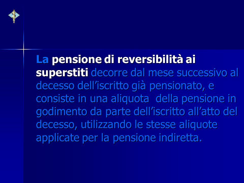 La pensione di reversibilità ai superstiti decorre dal mese successivo al decesso delliscritto già pensionato, e consiste in una aliquota della pensio