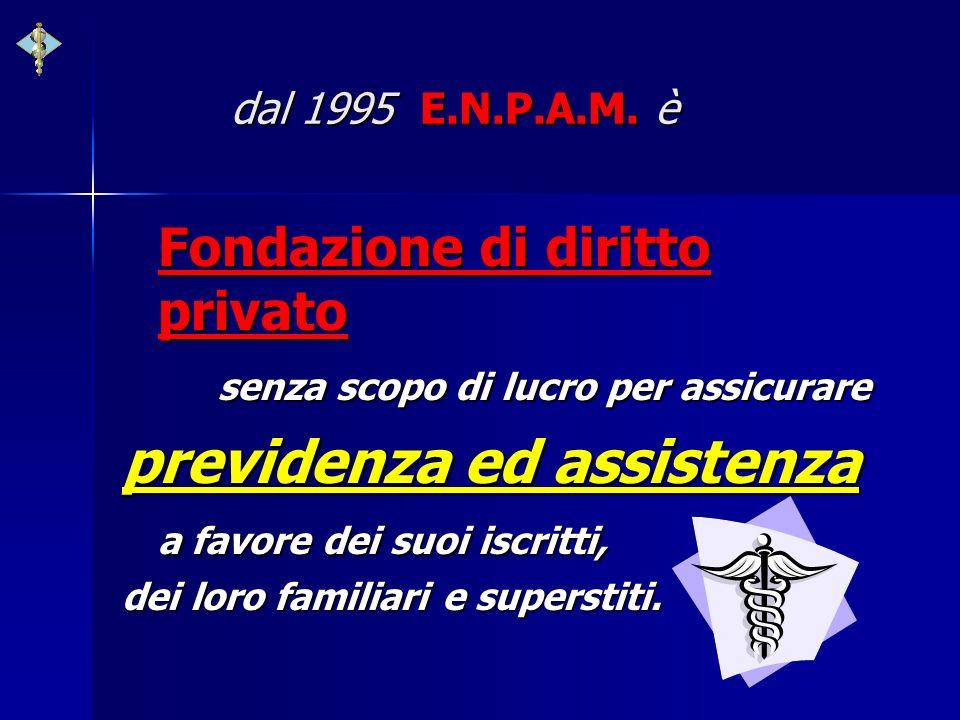 dal 1995 E.N.P.A.M. è dal 1995 E.N.P.A.M. è Fondazione di diritto privato senza scopo di lucro per assicurare previdenza ed assistenza a favore dei su