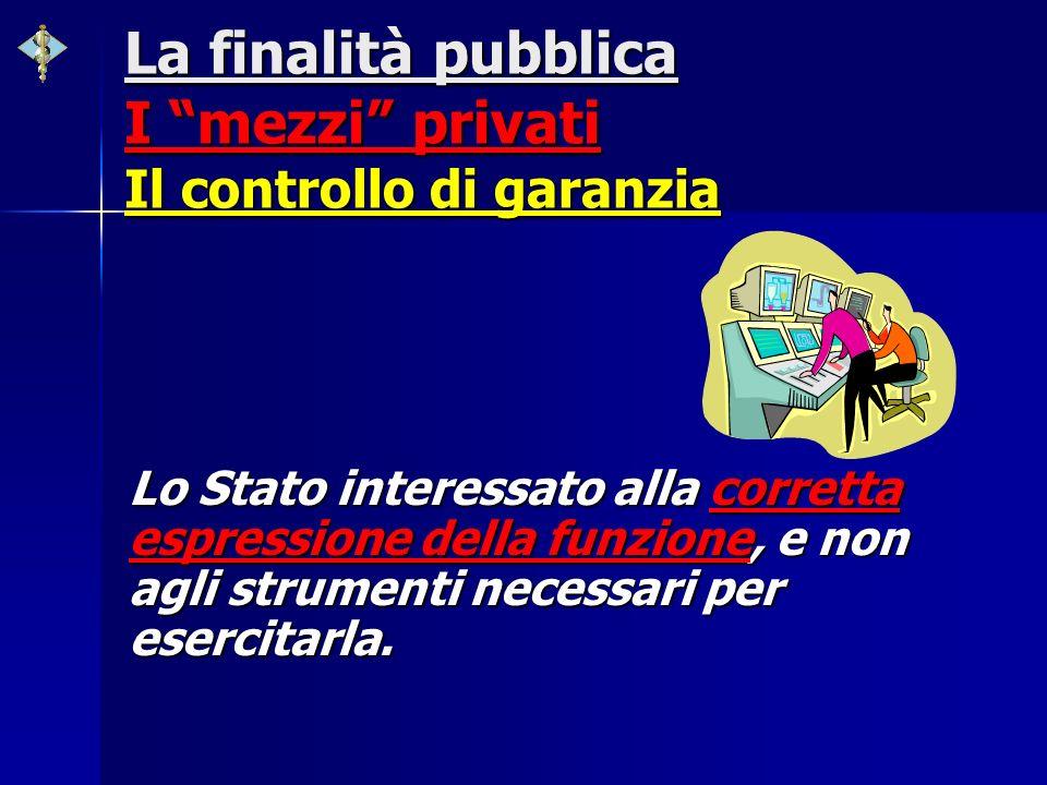La finalità pubblica I mezzi privati Il controllo di garanzia Lo Stato interessato alla corretta espressione della funzione, e non agli strumenti nece