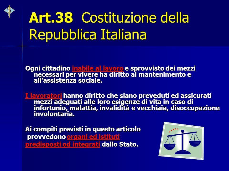Art.38 Costituzione della Repubblica Italiana Ogni cittadino inabile al lavoro e sprovvisto dei mezzi necessari per vivere ha diritto al mantenimento