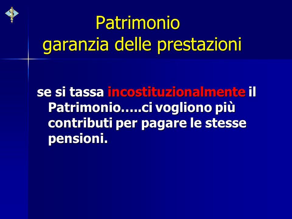 Patrimonio garanzia delle prestazioni se si tassa incostituzionalmente il Patrimonio…..ci vogliono più contributi per pagare le stesse pensioni.
