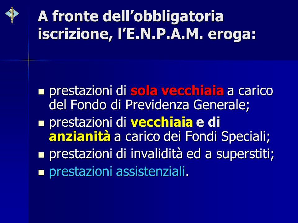 A fronte dellobbligatoria iscrizione, lE.N.P.A.M. eroga: prestazioni di sola vecchiaia a carico del Fondo di Previdenza Generale; prestazioni di sola
