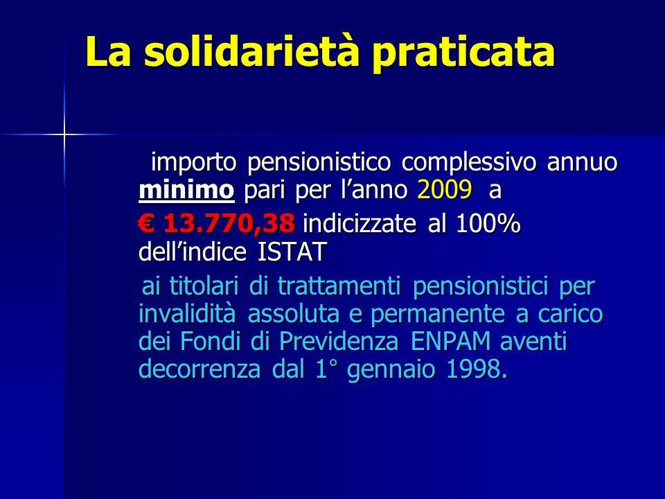 La solidarietà praticata importo pensionistico complessivo annuo minimo pari per lanno 2009 a 13.770,38 indicizzate al 100% dellindice ISTAT 13.770,38