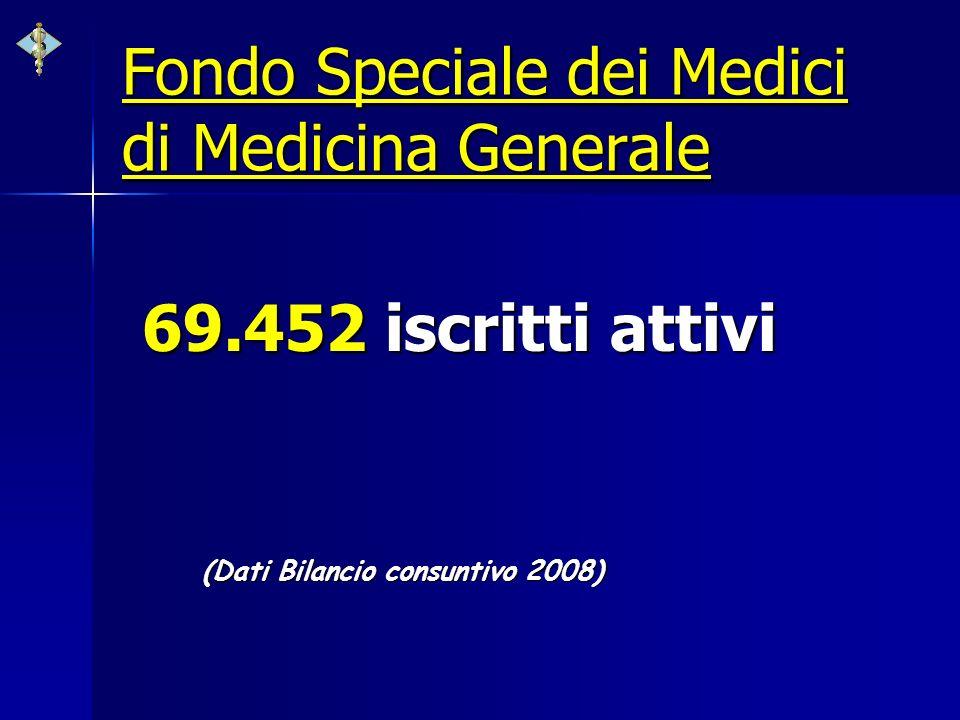Fondo Speciale dei Medici di Medicina Generale 69.452 iscritti attivi (Dati Bilancio consuntivo 2008)