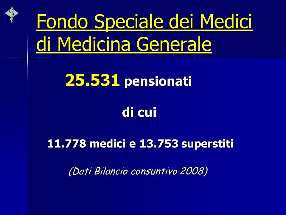 Fondo Speciale dei Medici di Medicina Generale 25.531 pensionati di cui 11.778 medici e 13.753 superstiti (Dati Bilancio consuntivo 2008) (Dati Bilanc