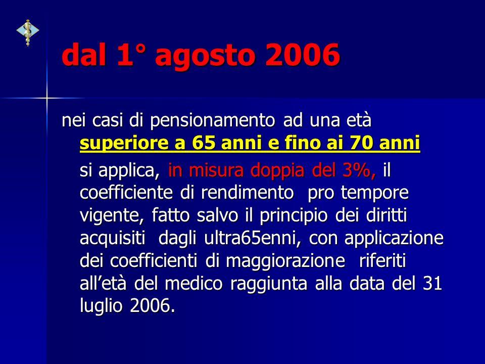 dal 1° agosto 2006 nei casi di pensionamento ad una età superiore a 65 anni e fino ai 70 anni si applica, in misura doppia del 3%, il coefficiente di