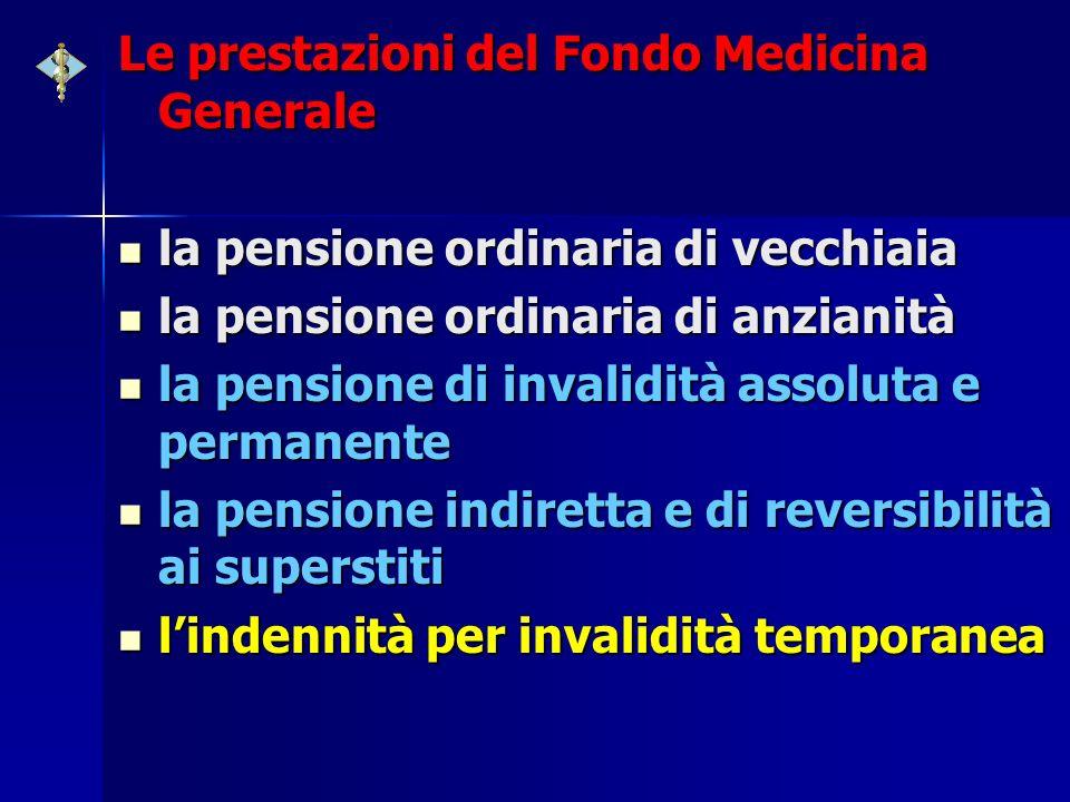 Le prestazioni del Fondo Medicina Generale la pensione ordinaria di vecchiaia la pensione ordinaria di vecchiaia la pensione ordinaria di anzianità la
