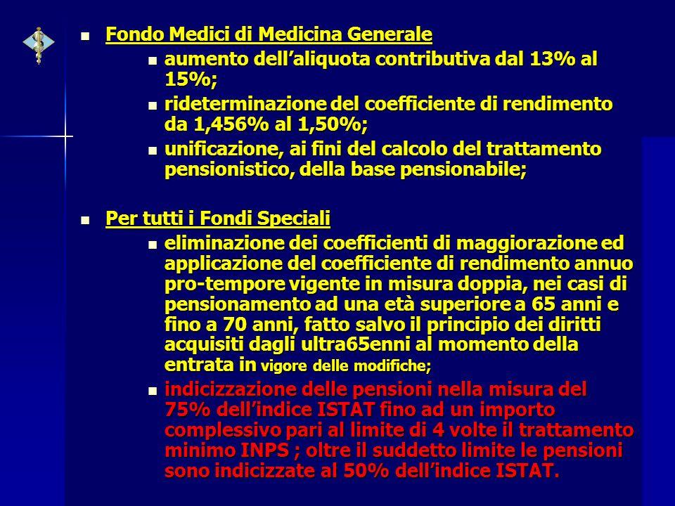 Fondo Medici di Medicina Generale Fondo Medici di Medicina Generale aumento dellaliquota contributiva dal 13% al 15%; aumento dellaliquota contributiv