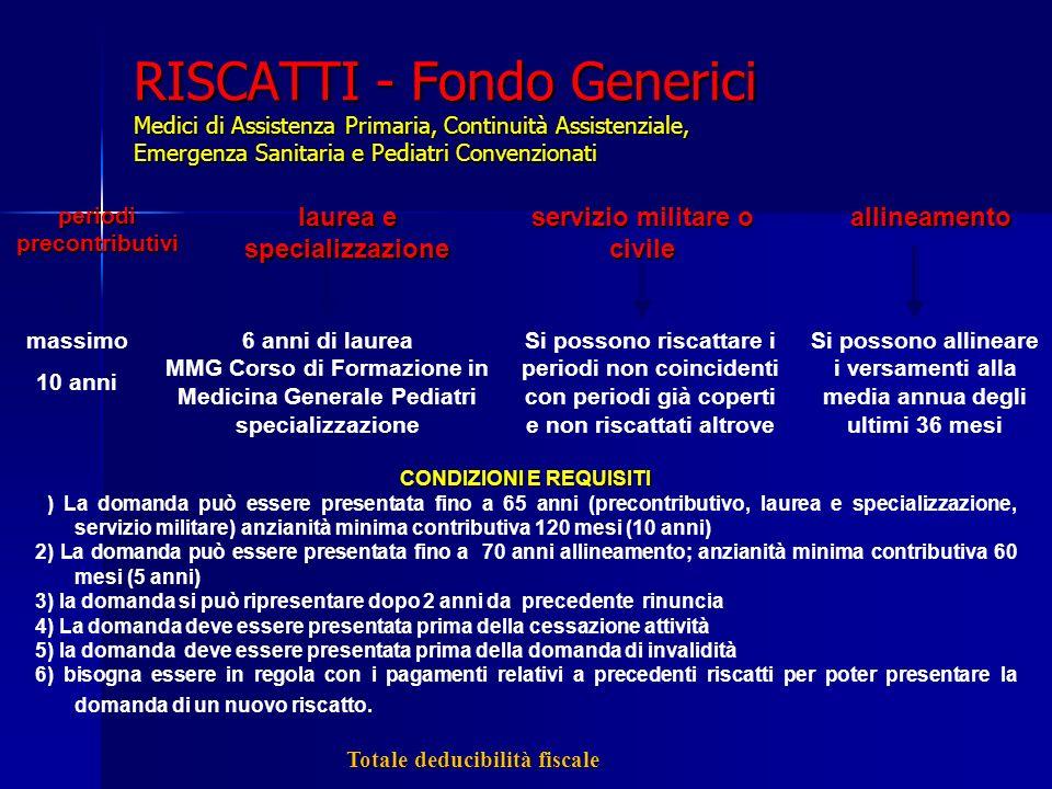 RISCATTI - Fondo Generici Medici di Assistenza Primaria, Continuità Assistenziale, Emergenza Sanitaria e Pediatri Convenzionati massimo 10 anni 6 anni