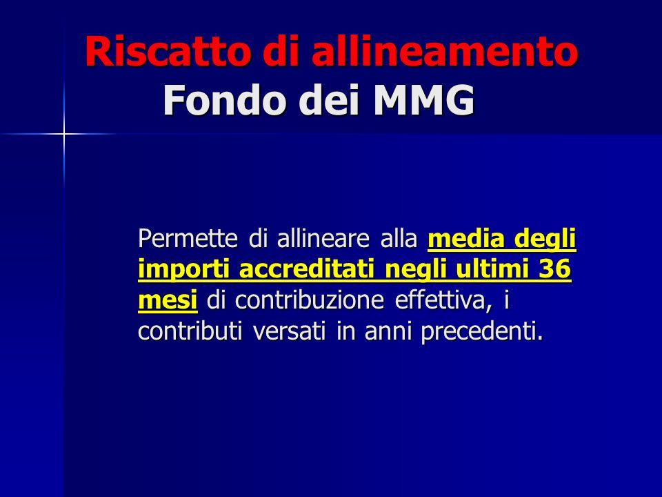 Riscatto di allineamento Fondo dei MMG Permette di allineare alla media degli importi accreditati negli ultimi 36 mesi di contribuzione effettiva, i c
