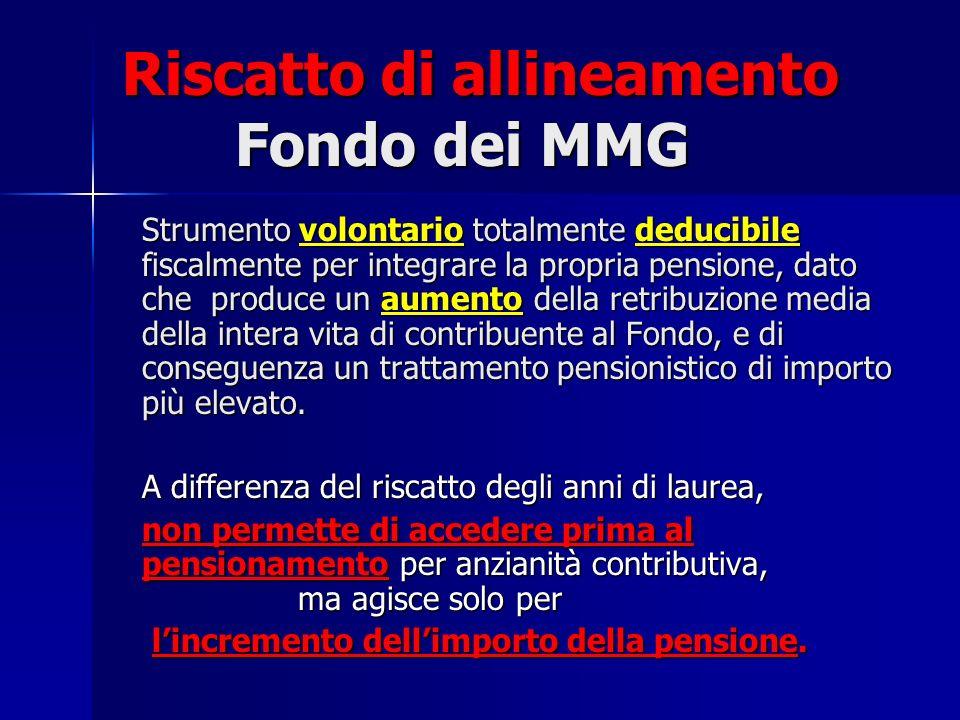 Riscatto di allineamento Fondo dei MMG Strumento volontario totalmente deducibile fiscalmente per integrare la propria pensione, dato che produce un a