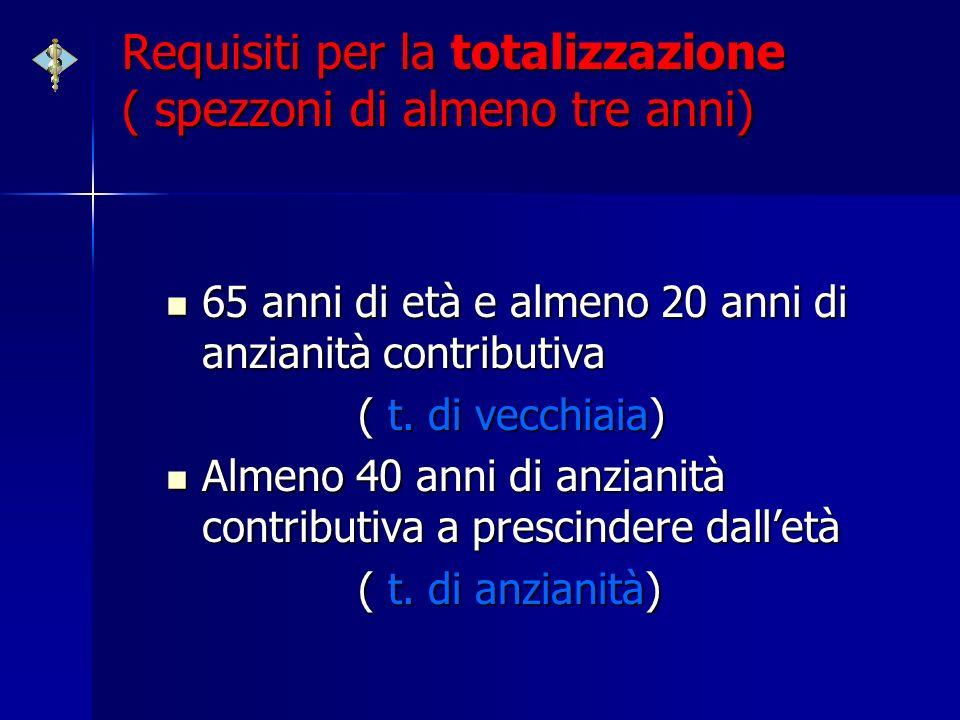 Requisiti per la totalizzazione ( spezzoni di almeno tre anni) 65 anni di età e almeno 20 anni di anzianità contributiva 65 anni di età e almeno 20 an