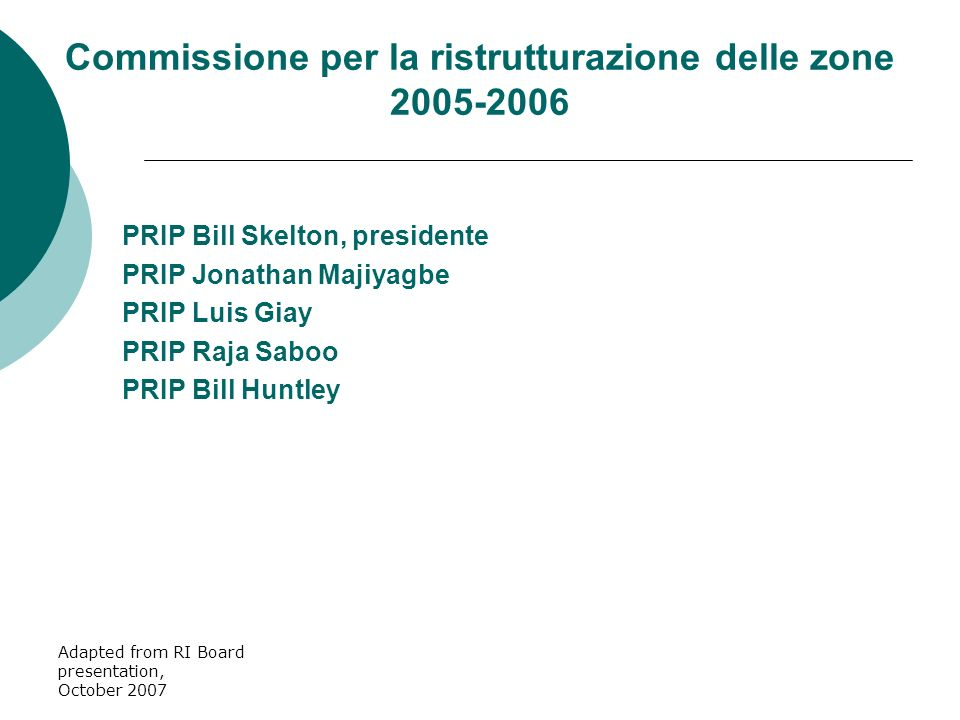 Adapted from RI Board presentation, October 2007 PRIP Bill Skelton, presidente PRIP Jonathan Majiyagbe PRIP Luis Giay PRIP Raja Saboo PRIP Bill Huntley Commissione per la ristrutturazione delle zone 2005-2006