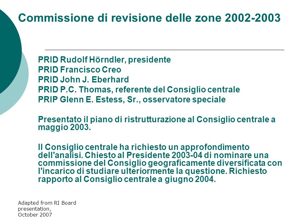 Adapted from RI Board presentation, October 2007 PRID Rudolf Hörndler, presidente PRID Francisco Creo PRID John J. Eberhard PRID P.C. Thomas, referent