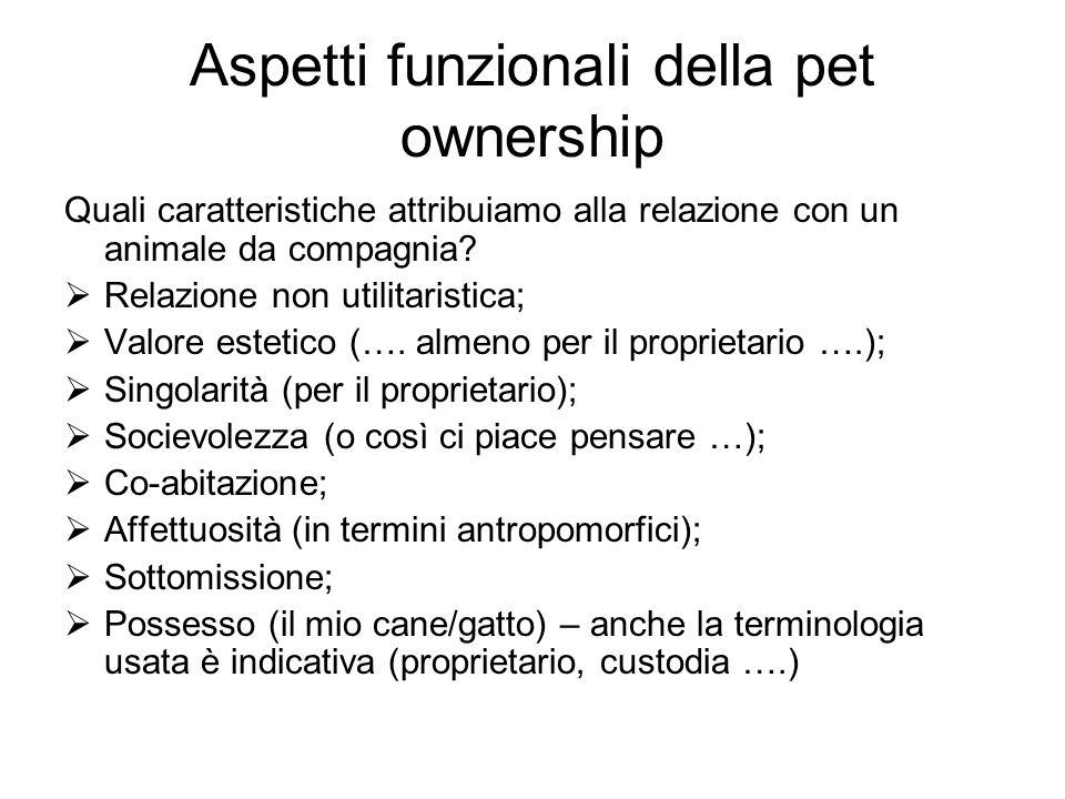 Aspetti funzionali della pet ownership Quali caratteristiche attribuiamo alla relazione con un animale da compagnia? Relazione non utilitaristica; Val