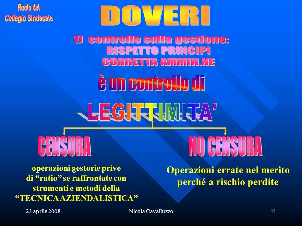 23 aprile 2008Nicola Cavalluzzo11 operazioni gestorie prive di ratio se raffrontate con strumenti e metodi della TECNICA AZIENDALISTICA Operazioni err