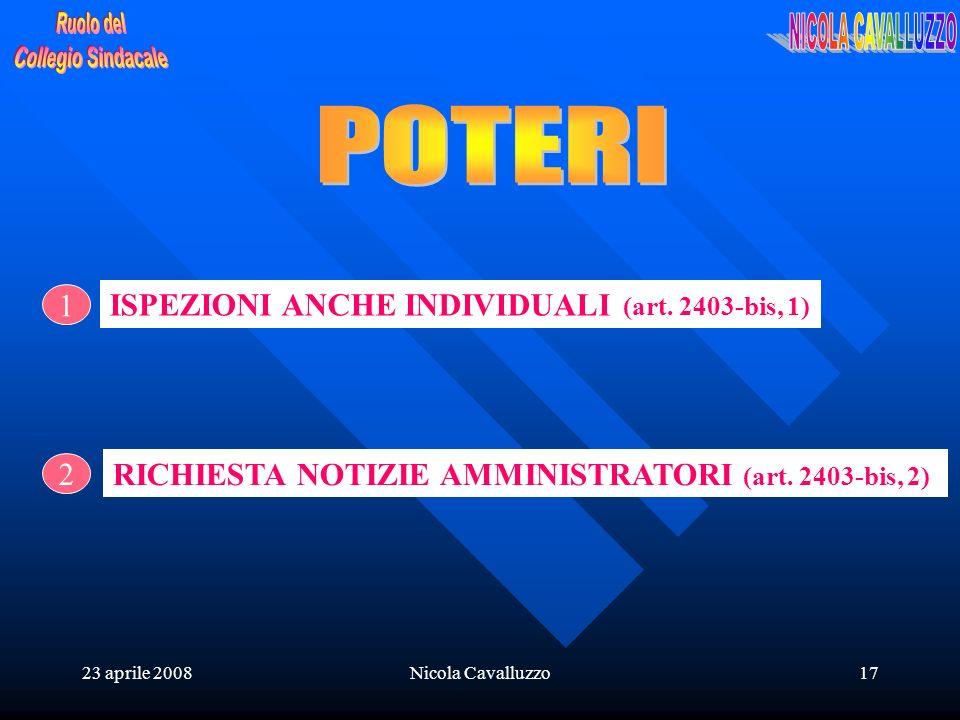 23 aprile 2008Nicola Cavalluzzo17 2 1 ISPEZIONI ANCHE INDIVIDUALI (art. 2403-bis, 1) RICHIESTA NOTIZIE AMMINISTRATORI (art. 2403-bis, 2)