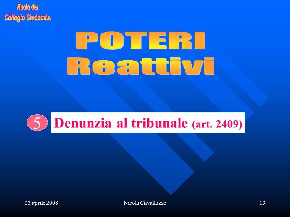23 aprile 2008Nicola Cavalluzzo19 5 Denunzia al tribunale (art. 2409)