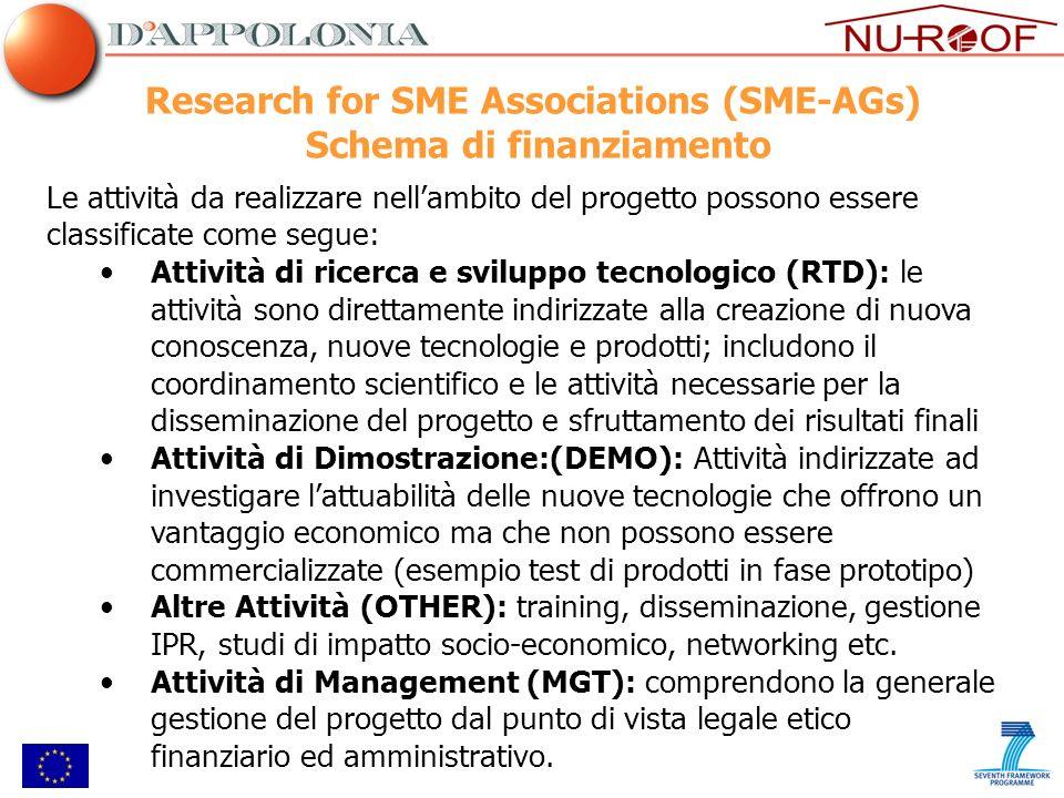 Research for SME Associations (SME-AGs) Schema di finanziamento Le attività da realizzare nellambito del progetto possono essere classificate come seg