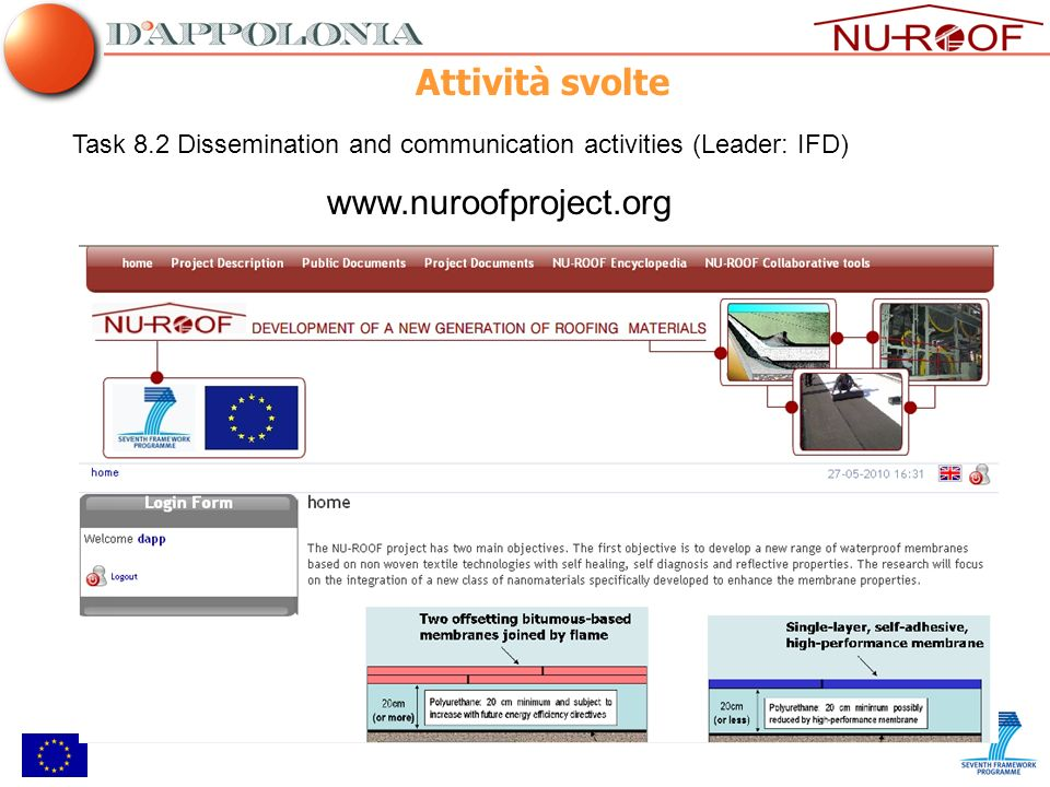 Task 8.2 Dissemination and communication activities (Leader: IFD) www.nuroofproject.org Attività svolte