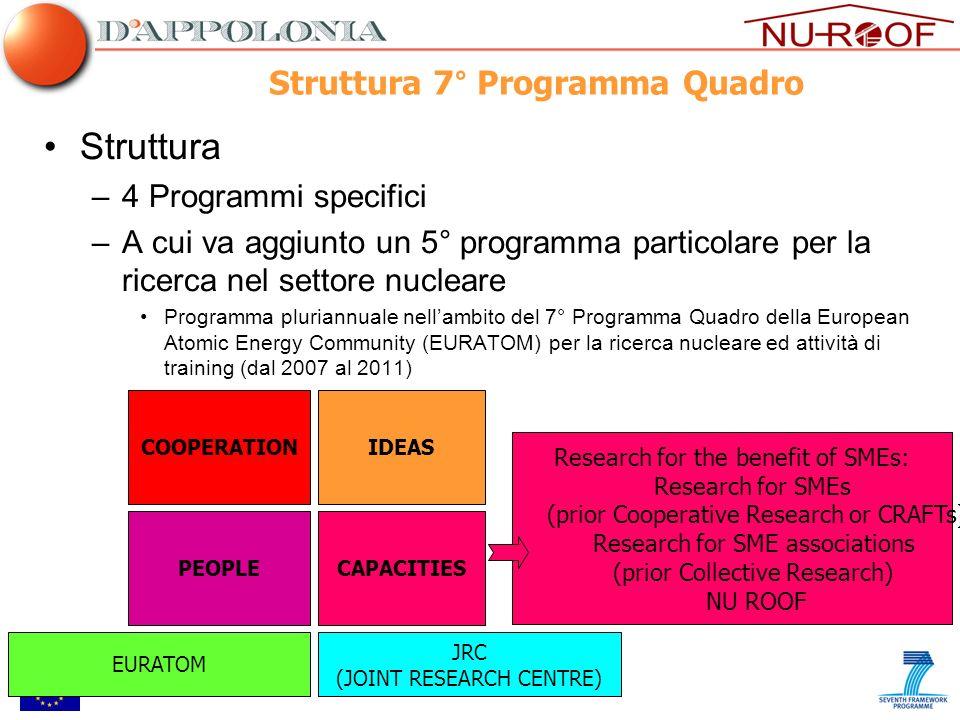 Struttura 7° Programma Quadro Struttura –4 Programmi specifici –A cui va aggiunto un 5° programma particolare per la ricerca nel settore nucleare Prog