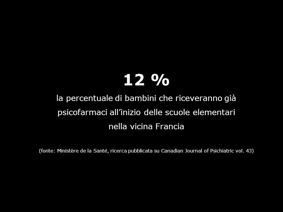 12 % la percentuale di bambini che riceveranno già psicofarmaci allinizio delle scuole elementari nella vicina Francia (fonte: Ministère de la Santé,