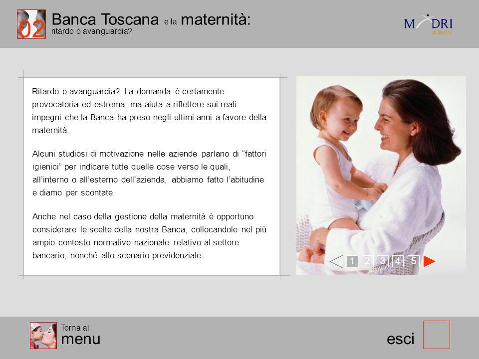 Banca Toscana e la maternità: ritardo o avanguardia? 123 esci Ritardo o avanguardia? La domanda è certamente provocatoria ed estrema, ma aiuta a rifle