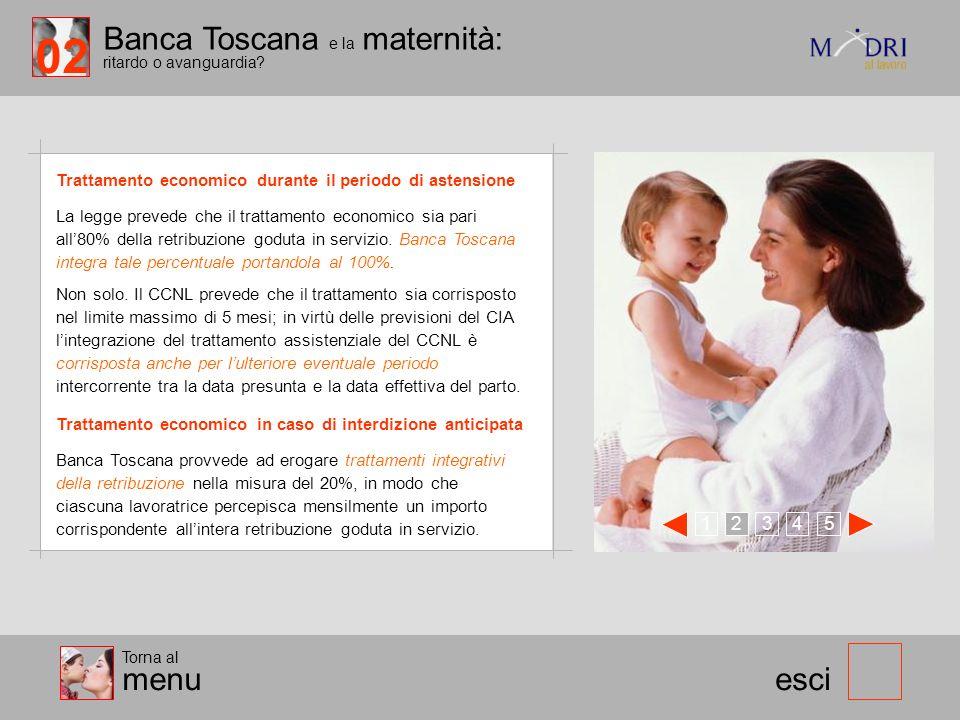 Banca Toscana e la maternità: ritardo o avanguardia? esci Trattamento economico durante il periodo di astensione 123 45 Torna al menu La legge prevede