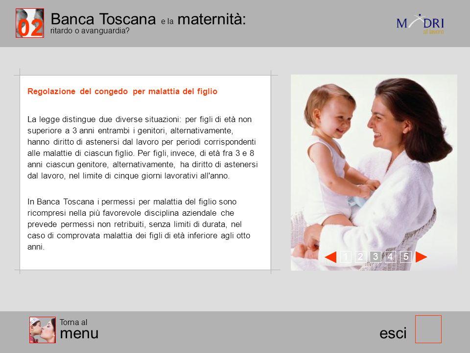 Banca Toscana e la maternità: ritardo o avanguardia? esci Regolazione del congedo per malattia del figlio 123 45 Torna al menu La legge distingue due