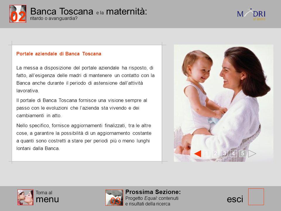 Banca Toscana e la maternità: ritardo o avanguardia? esci Portale aziendale di Banca Toscana Prossima Sezione: Progetto Equal: contenuti e risultati d