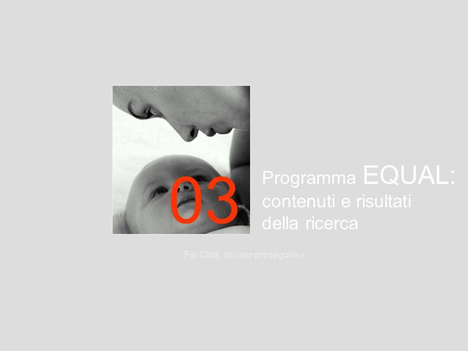 Programma EQUAL: contenuti e risultati della ricerca Fai Click qui per proseguire > 03