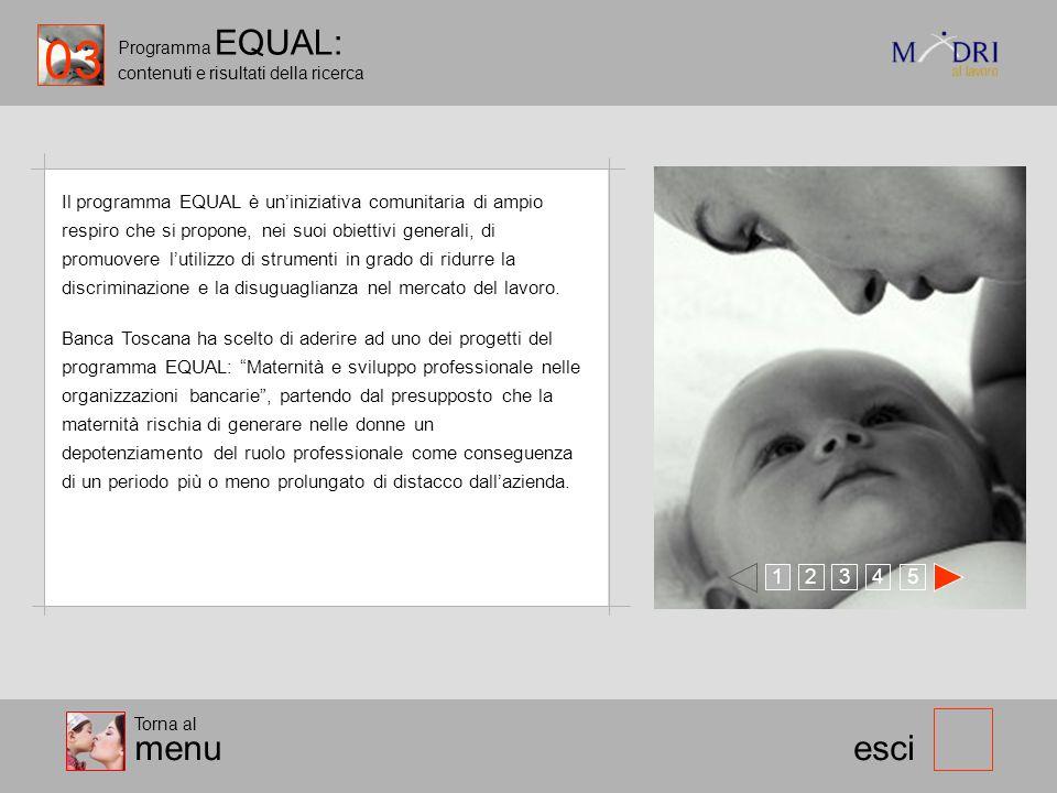 Programma EQUAL: contenuti e risultati della ricerca 123 esci Il programma EQUAL è uniniziativa comunitaria di ampio respiro che si propone, nei suoi