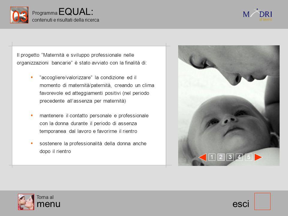 Programma EQUAL: contenuti e risultati della ricerca esci Il progetto Maternità e sviluppo professionale nelle organizzazioni bancarie è stato avviato
