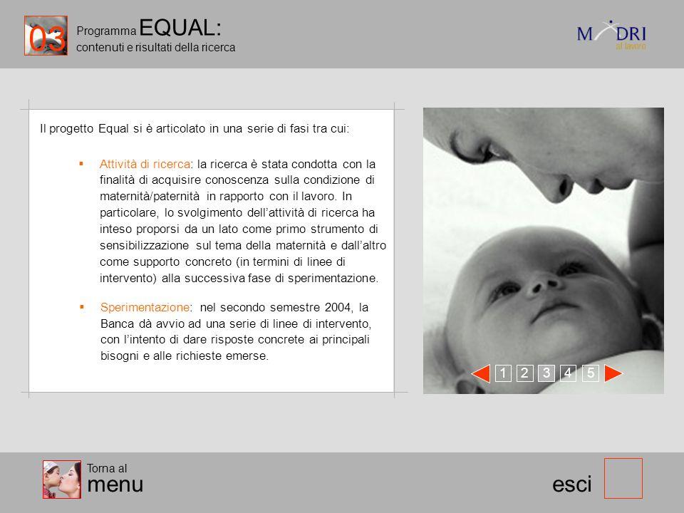 Programma EQUAL: contenuti e risultati della ricerca esci Il progetto Equal si è articolato in una serie di fasi tra cui: 123 45 Attività di ricerca:
