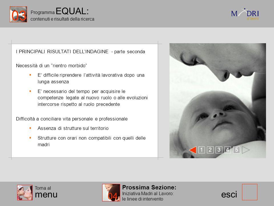 Programma EQUAL: contenuti e risultati della ricerca esci I PRINCIPALI RISULTATI DELLINDAGINE - parte seconda 123 45 Prossima Sezione: Iniziativa Madr
